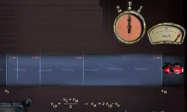 вычисление средней скорости при движении с ускорением