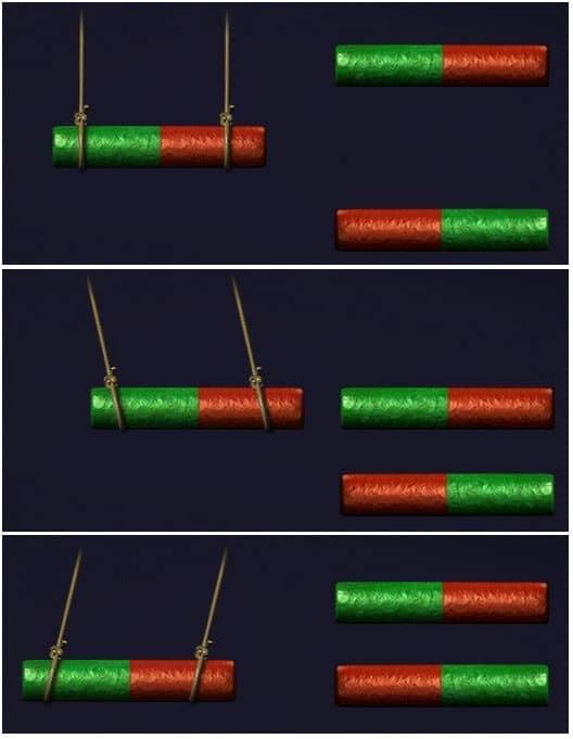 притяжение и отталкивание полюсов магнита