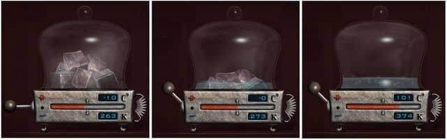 в зависимости от температуры вещество может находится в трех агрегатных состояниях
