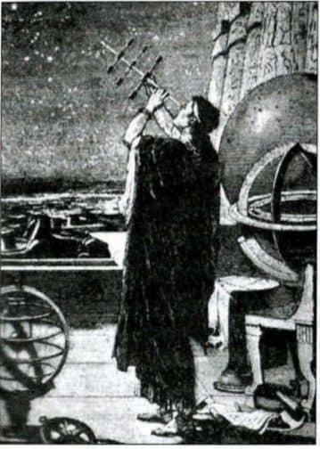 древний астроном наблюдает расположение небесных светил с помощью угломерных палочек
