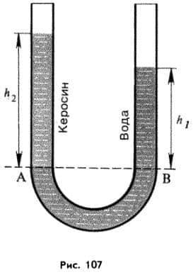 сообщающиеся сосуды с жидкостями разной плотности
