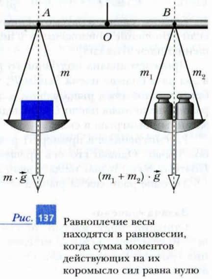 равноплечие весы находятся в равновесии, когда сумма моментов равна нулю