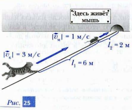 скорости кота и мыши, а также расстояние между ними и норой
