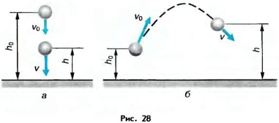 изменение высоты и скорости тела