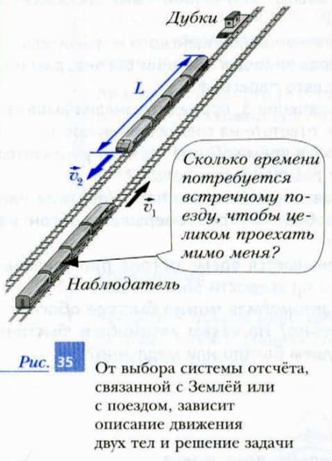 движущиеся навстречу друг другу поезда, система отсчета связана с одним из поездов