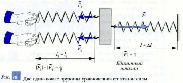две одинаковые пружины уравновешивают эталон силы