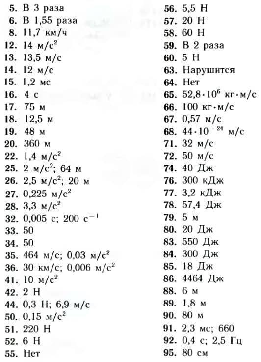 ответы к задачам по физике